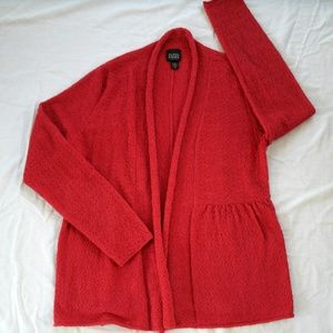 Eileen Fisher Cardigan Red Open Front Wool SP